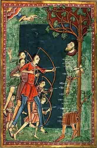 St Edmund gets nailed to a tree Life of St Edmund, Bury St Edmunds, c.1120 Pierpont Morgan Library MS M.736, f.14