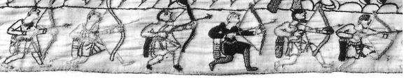"Archers immediately below ""Hic Est Williemo Dux"" at the end of the Tapestry. Quivers are shown sitting upright on the ground in the next panel, indicating flattish bottoms."